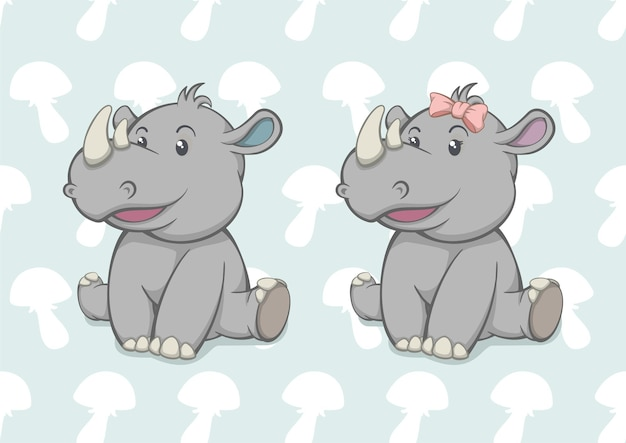 Dessin animé bébé rhinocéros garçon et fille