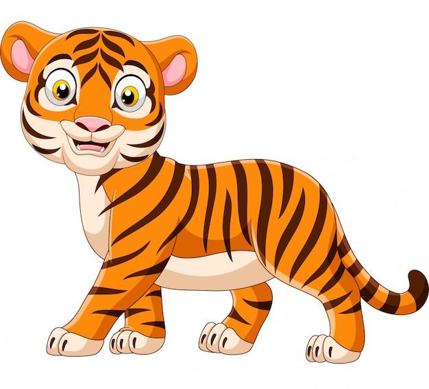 Dessin animé bébé tigre isolé sur fond blanc