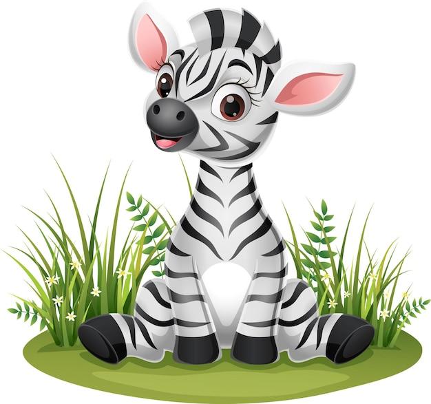 Dessin animé bébé zèbre assis dans l'herbe