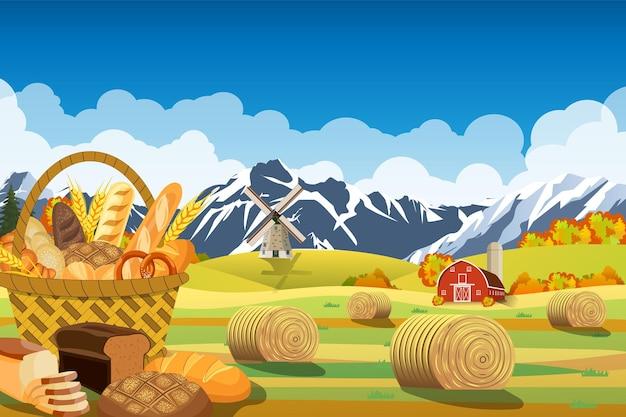 Dessin animé belle scène de ferme d'automne avec des champs de blé. paysage plat de ferme