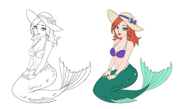 Dessin animé belle sirène en bikini et chapeau.