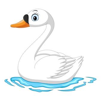 Dessin animé, blanc, oie, natation, dans, eau