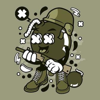 Dessin animé bombe soldat