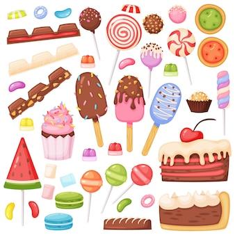 Dessin animé bonbons dessert biscuits sucettes crème glacée gelée de guimauve tranches de gâteau au chocolat ensemble de vecteurs