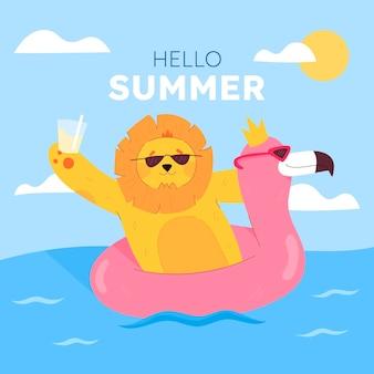 Dessin animé, bonjour, été, illustration