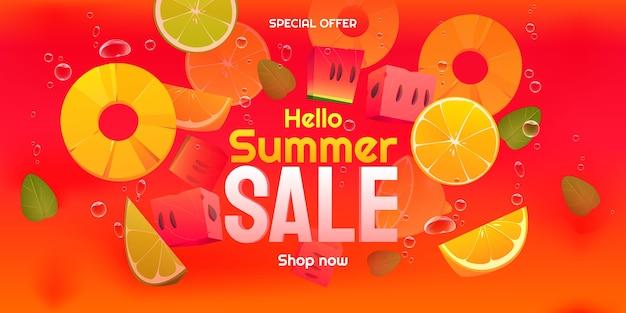 Dessin animé bonjour illustration de vente d'été