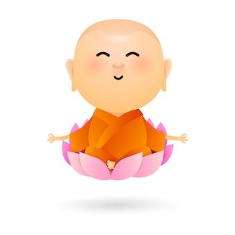 Dessin animé bouddha assis dans le lotus