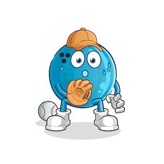 Dessin animé de boule de bowling baseball catcher. mascotte de dessin animé