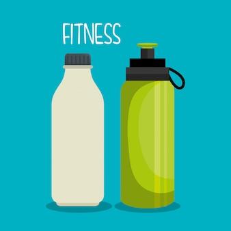 Dessin animé bouteilles eau sport éléments design
