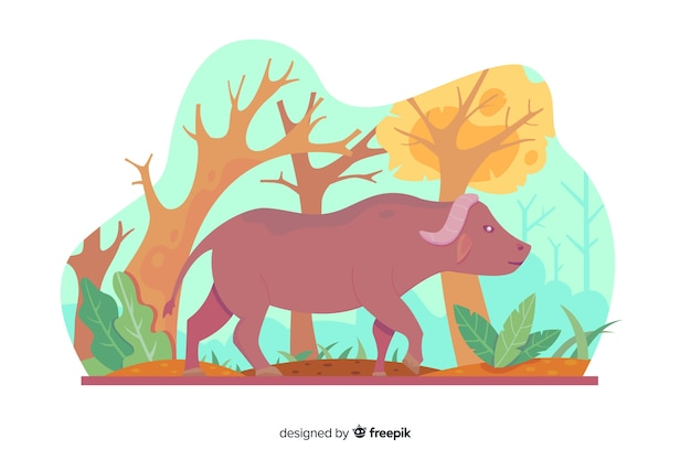 Dessin animé de buffle dans la nature