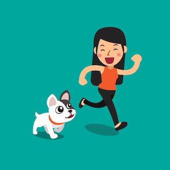Dessin animé bulldog français et une femme