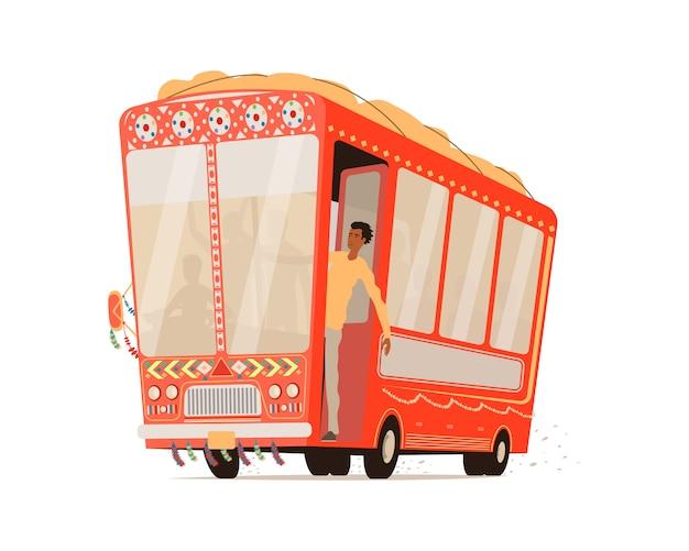 Dessin animé bus indien isolé.