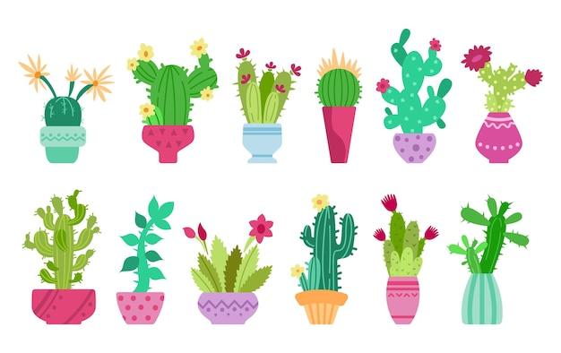 Dessin animé cactus et ensemble de clipart succulent
