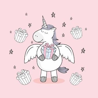 Dessin animé de cadeau de joyeux anniversaire doodle