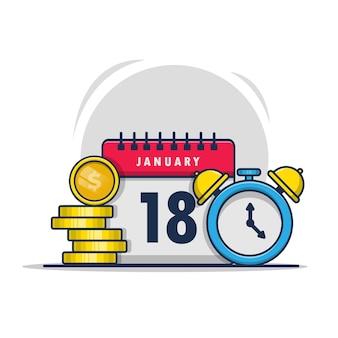 Dessin animé, calendrier, icône, illustration, de, a, horloge, et, pièce or, finance, affaires, conception