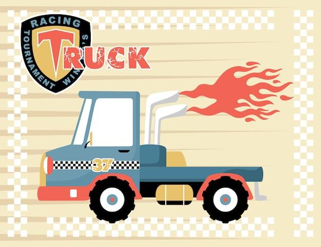 Dessin animé de camion de course