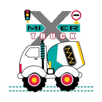 Dessin animé camion malaxeur