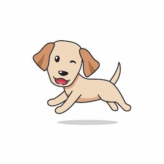 Dessin animé, caractère, heureux, retriever labrador, chien, courant
