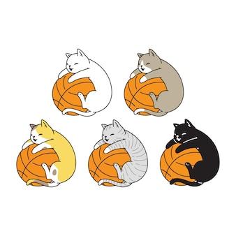 Dessin animé de caractère icône de basket-ball de chat