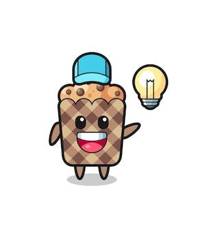 Dessin animé de caractère de muffin obtenant l'idée, conception mignonne