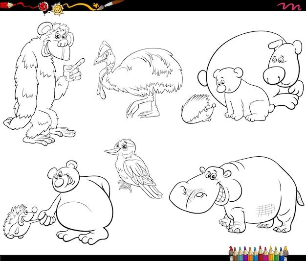Dessin animé, caractères animaux, ensemble, livre coloration, page