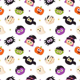 Dessin animé, caractères, halloween, seamless, modèle, blanc, fond