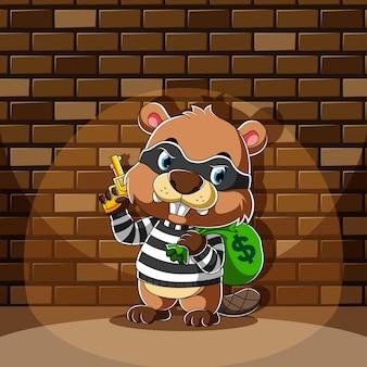 Le dessin animé de castor debout et tenant un sac d'argent avec le pistolet jaune