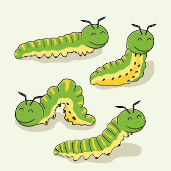 Dessin animé caterpillar animaux mignons