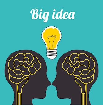 Dessin animé cerveau idée design créatif
