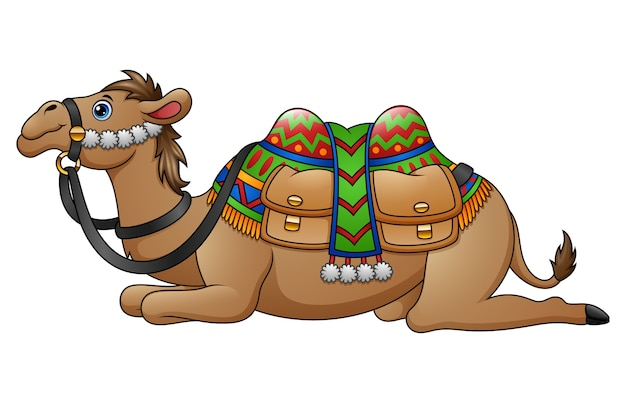 Dessin animé chameau avec selle