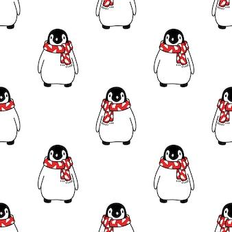 Dessin animé de chapeau de père noël noël sans couture pingouin