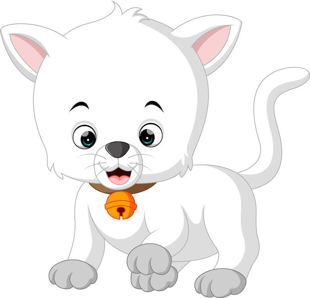 Dessin animé de chat blanc