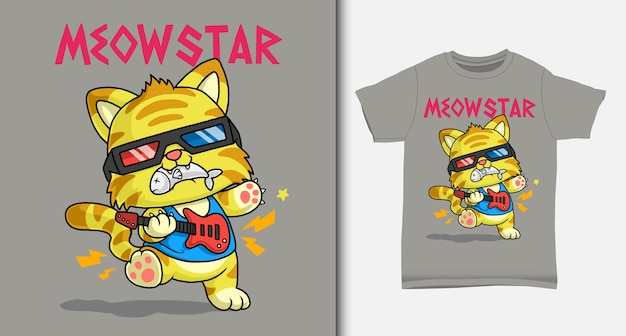 Dessin animé de chat cool. avec un design de t-shirt.