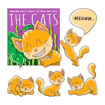 Dessin animé de chat avec différentes poses