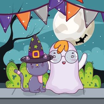 Dessin animé de chat et fantôme halloween
