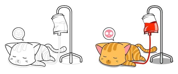 Dessin animé de chat malade facilement coloriage pour les enfants