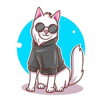 Dessin animé de chat mignon dans des tenues élégantes vector illustration