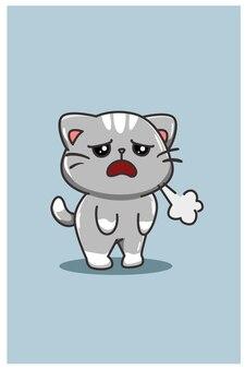 Un dessin animé de chat mignon et fatigué isolé sur bleu