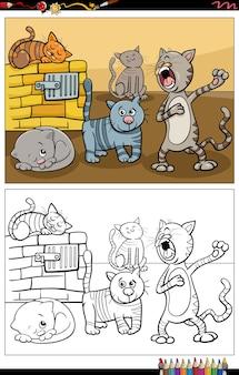Dessin animé chats animaux personnages groupe page de livre de coloriage