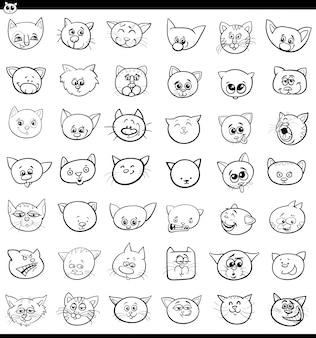 Dessin animé chats et chatons icônes grand ensemble