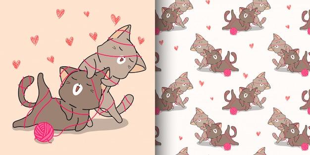 Dessin animé de chats kawaii modèle sans couture adore le jour de valentin
