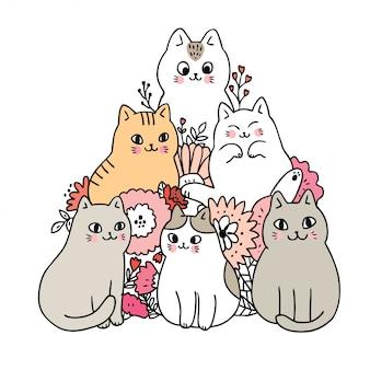 Dessin animé chats mignons et vecteur de fleurs.