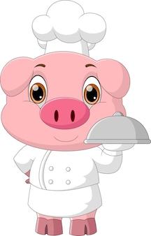 Dessin animé chef cochon portant un plateau de nourriture