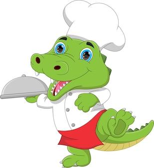 Dessin animé chef crocodile portant un plateau de nourriture