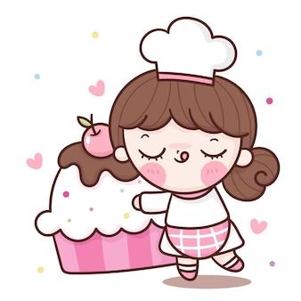 Dessin animé de chef de fille mignonne étreignant anniversaire cupcake kawaii boulangerie