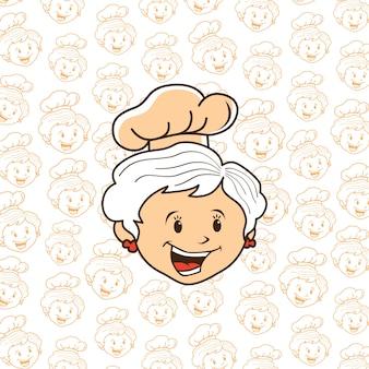 Dessin animé chef grand-mère
