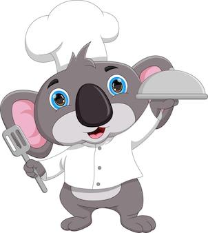 Dessin animé chef koala portant un plateau de nourriture