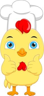 Dessin animé, chef, poulet, pouces haut