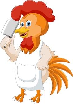 Dessin animé, chef, poulet, tenue, couteau
