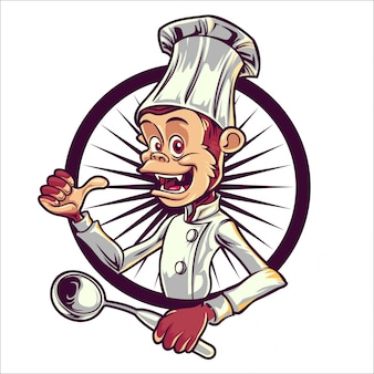 Dessin animé chef singe